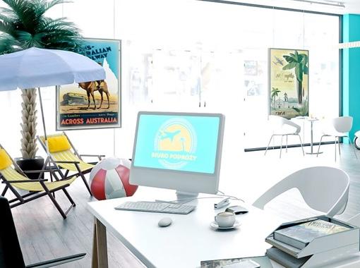 Wnętrze symulacji biura podróży