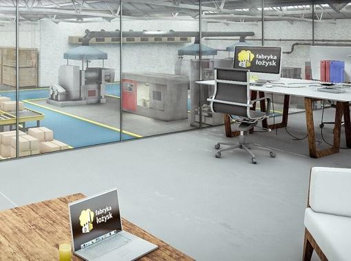 Wnętrze symulacji fabryki łożysk