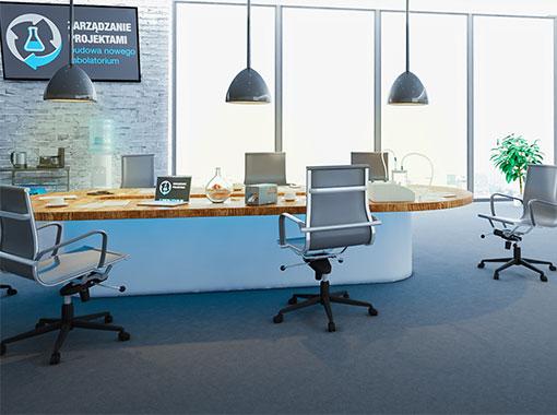 Wnętrze symulacji zarządzania projektami budowa nowego labolatorium