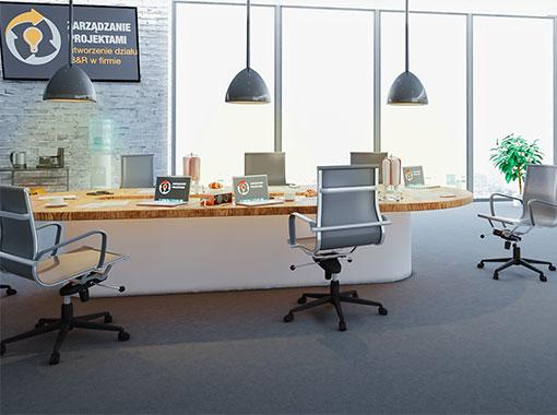Wnętrze symulacji zarządzania projektami utworzenie nowego dzialu b&r