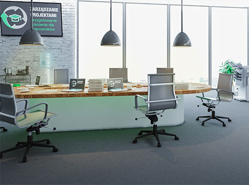 Wnętrze symulacji zarządzania projektami zorganizowanie szkolenia dla pracownikow