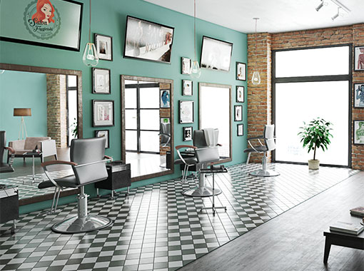 Wnętrze symulacji salonu fryzjerskiego