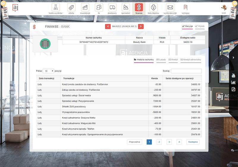 Galeria gry dydaktycznej symulacji Agencja interaktywna zakładka bank