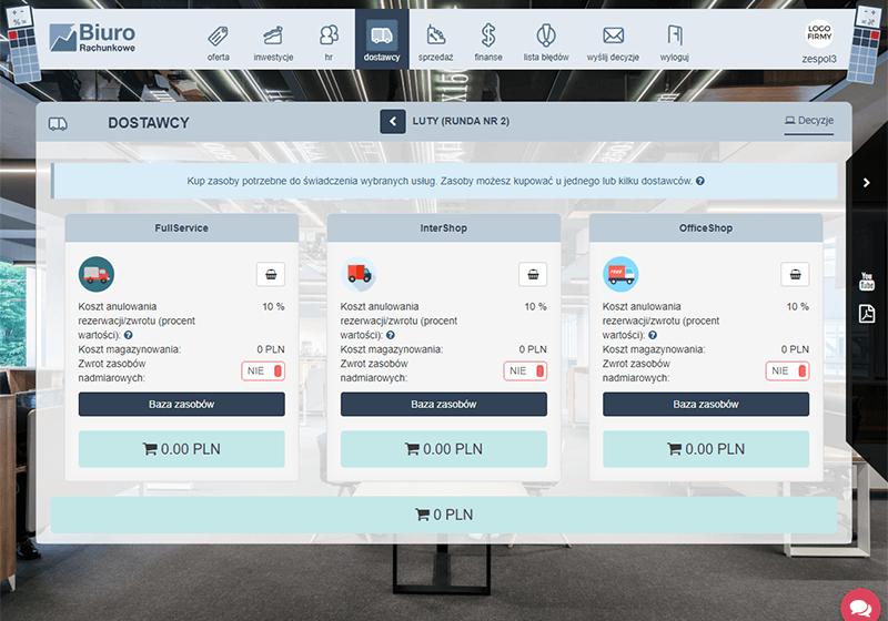 Galeria gry dydaktycznej symulacji Biuro Rachunkowe zakładka dostawcy