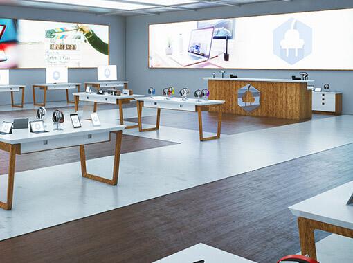 Wnętrze symulacji sklep elektro
