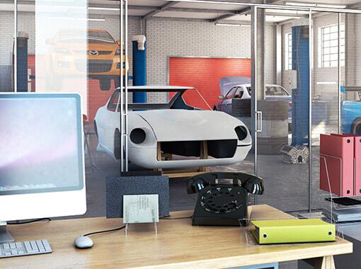 Wnętrze symulacji warsztatu samochodowego