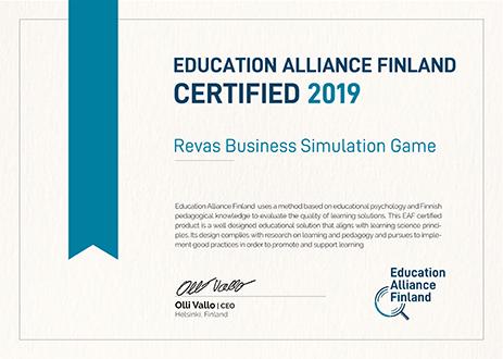 Certyfikat Branżowe Symulacje Biznesowe od Education Alliance Finland